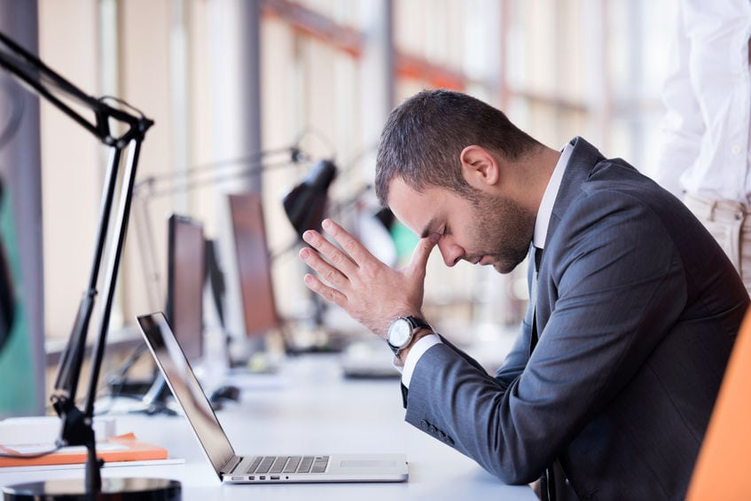 business man frustrated with a bad learning design experience